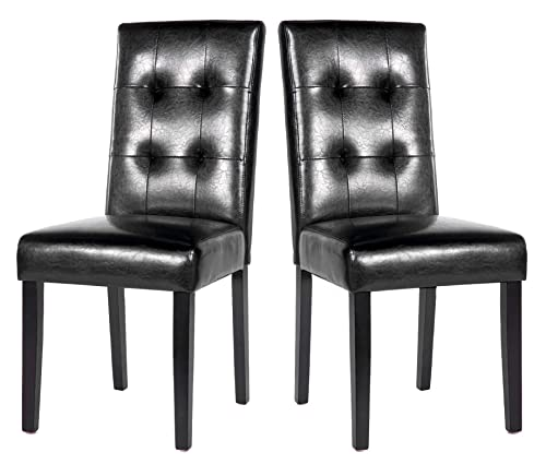 Dining Chairs Set of 2 Black PU Leisure Chair with Solid Wood Legs, Black, 37.75 H X 19 L X 17.25 W