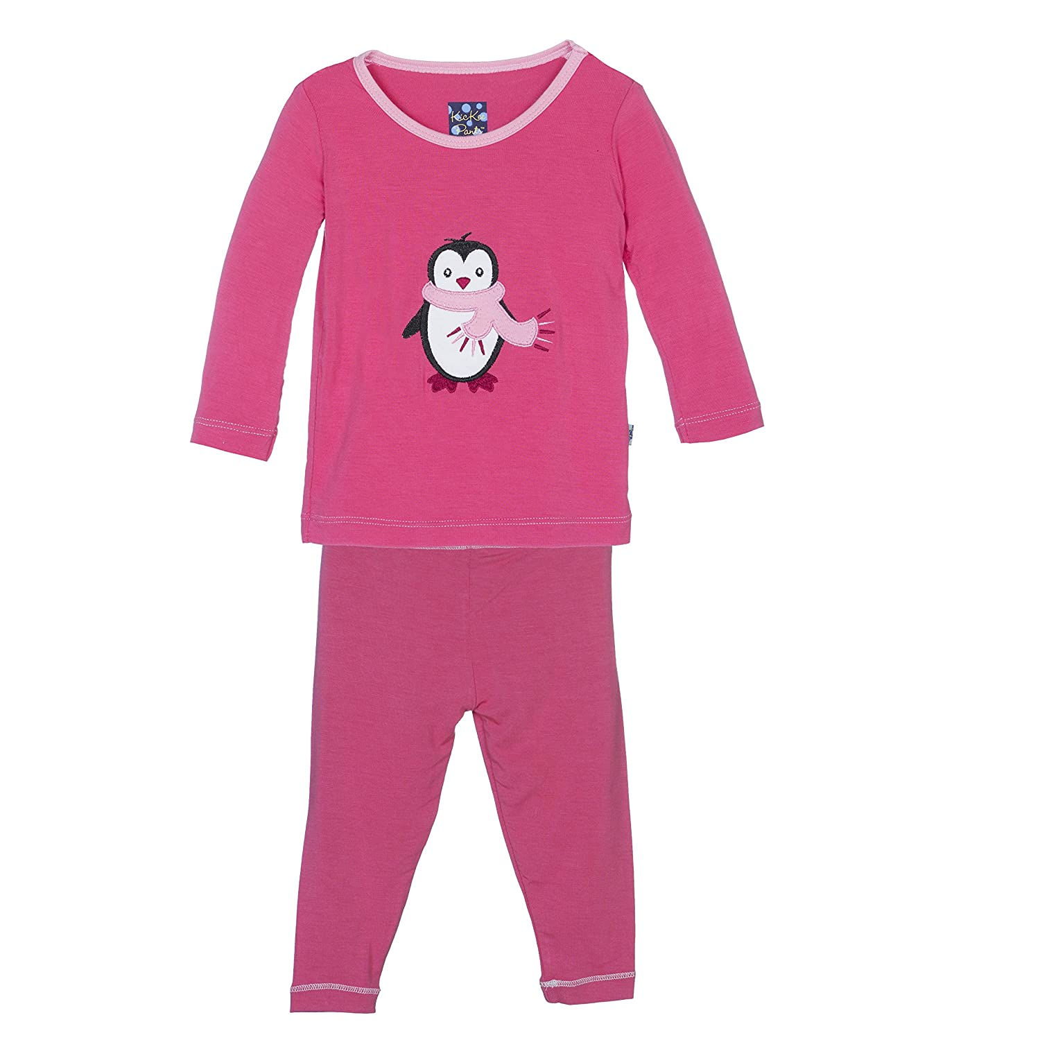 Girls 8 Years Winter Rose Penguin KicKee Pants Little Girls Holiday Long Sleeve Applique Pajama Set