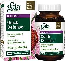 Gaia Herbs Quick Defense, Vegan Liquid Capsules, 40 Count - Fast-Acting Immune Support, Echinacea, Ginger Root, Sambucus Black Elderberry