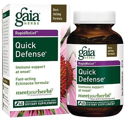 Gaia Herbs Quick Defense, Vegan Liquid Capsules, 40 Count – Fast-Acting Immune Support, Echinacea, Ginger Root, Sambucus Black Elderberry