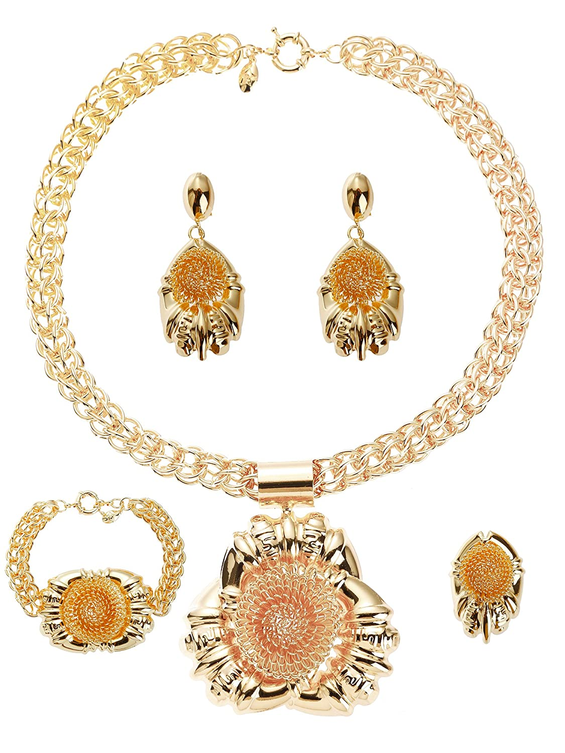 Moochi 18K Gold Plated Africa Style Necklace Earrings Ring Bracelet Jewelry Set T0152