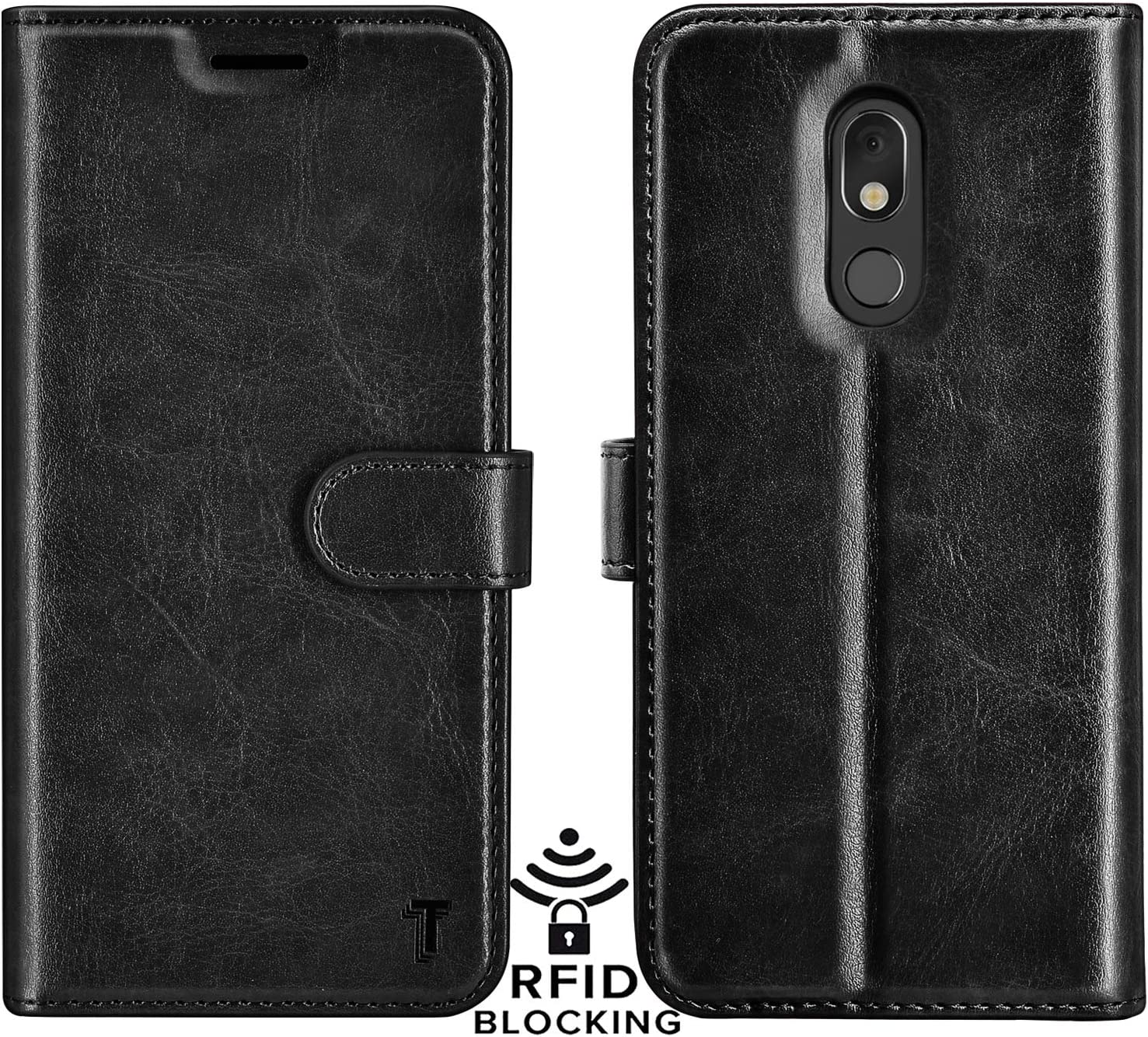 Njjex LG Stylo 5 Case, LG Stylo 5 Wallet Case, LG Stylo 5V/Stylo 5X/Stylo 5 Plus Case, RFID Blocking PU Leather Folio Flip ID Credit Card Slots Holder [Kickstand] Magnetic Closure Phone Cover [Black]