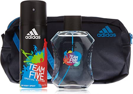 Adidas team five - Agua de colonia, deodorante + teoiletry bag: Amazon.es: Belleza