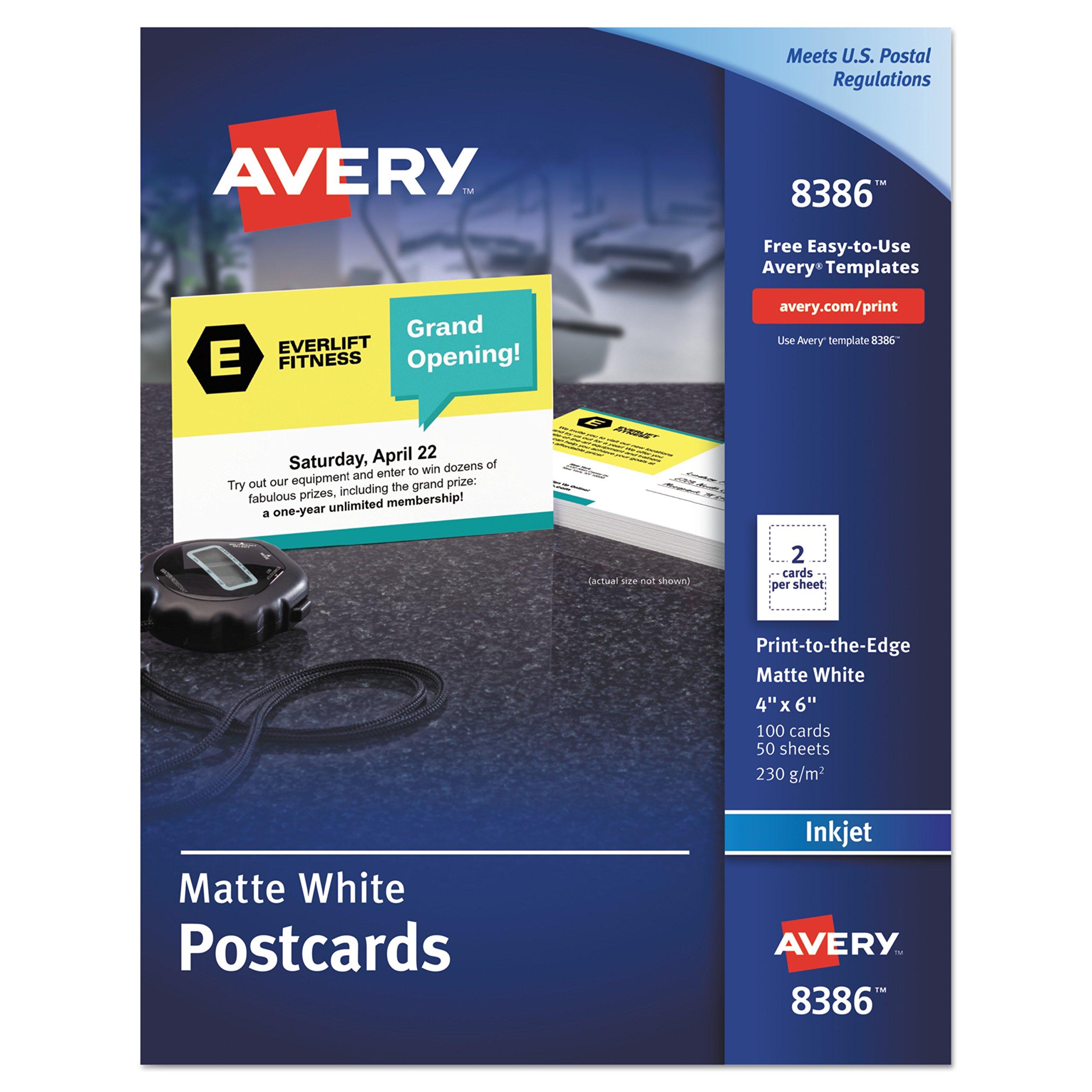 Avery 8386 Postcards, Inkjet, 4 x 6, 2 Cards/Sheet, White (Box of 100 Cards) by AVERY