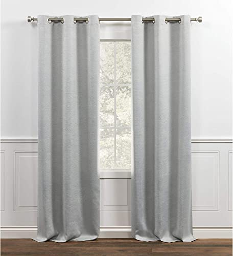 Chaps Brooks Room Darkening Sateen Sheen Textured Grommet Top Curtain Panels, 38×96, Light Grey