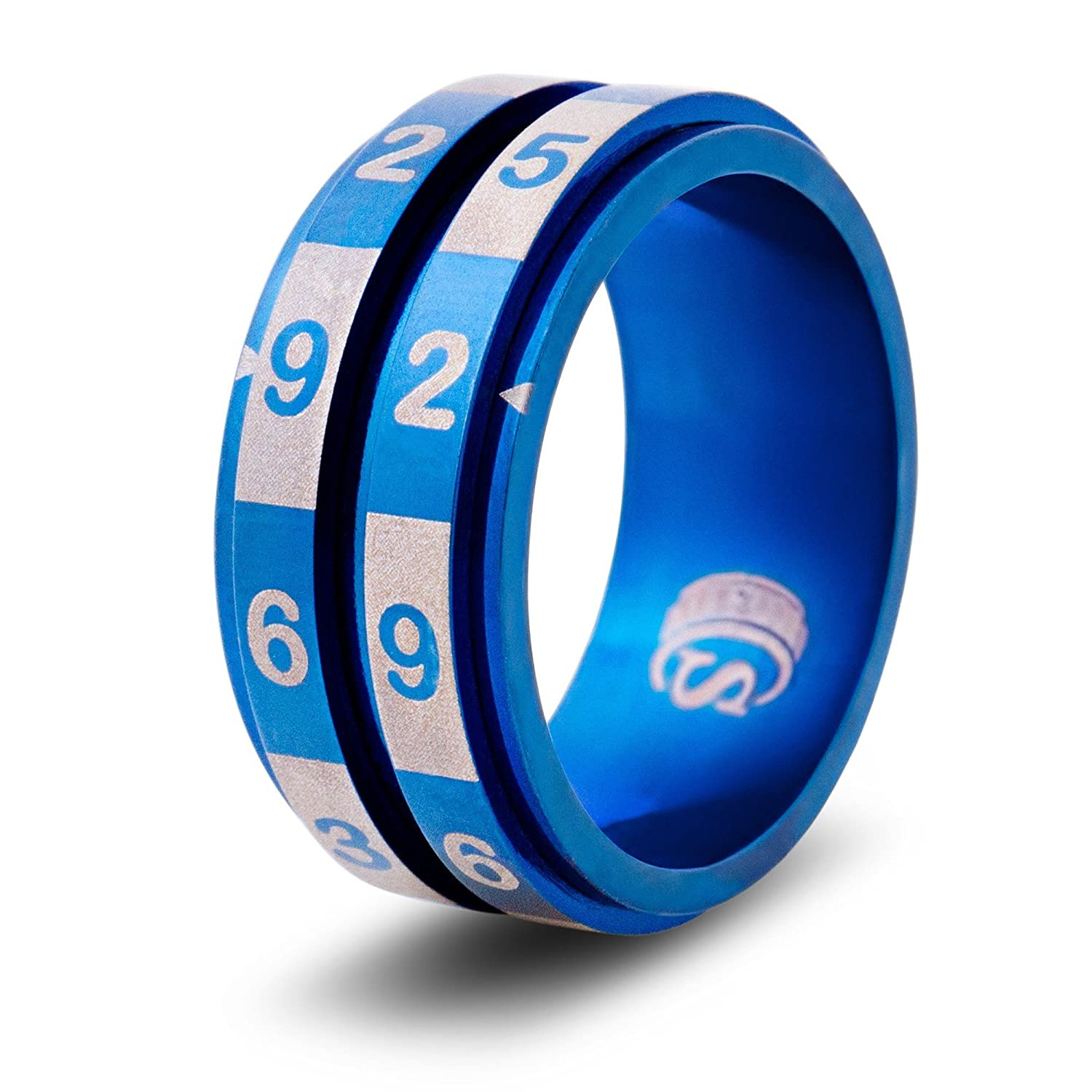 Size 11.5 - Stainless Steel - Blue CritSuccess d100 Dice Ring with 100 Sided Die Spinner
