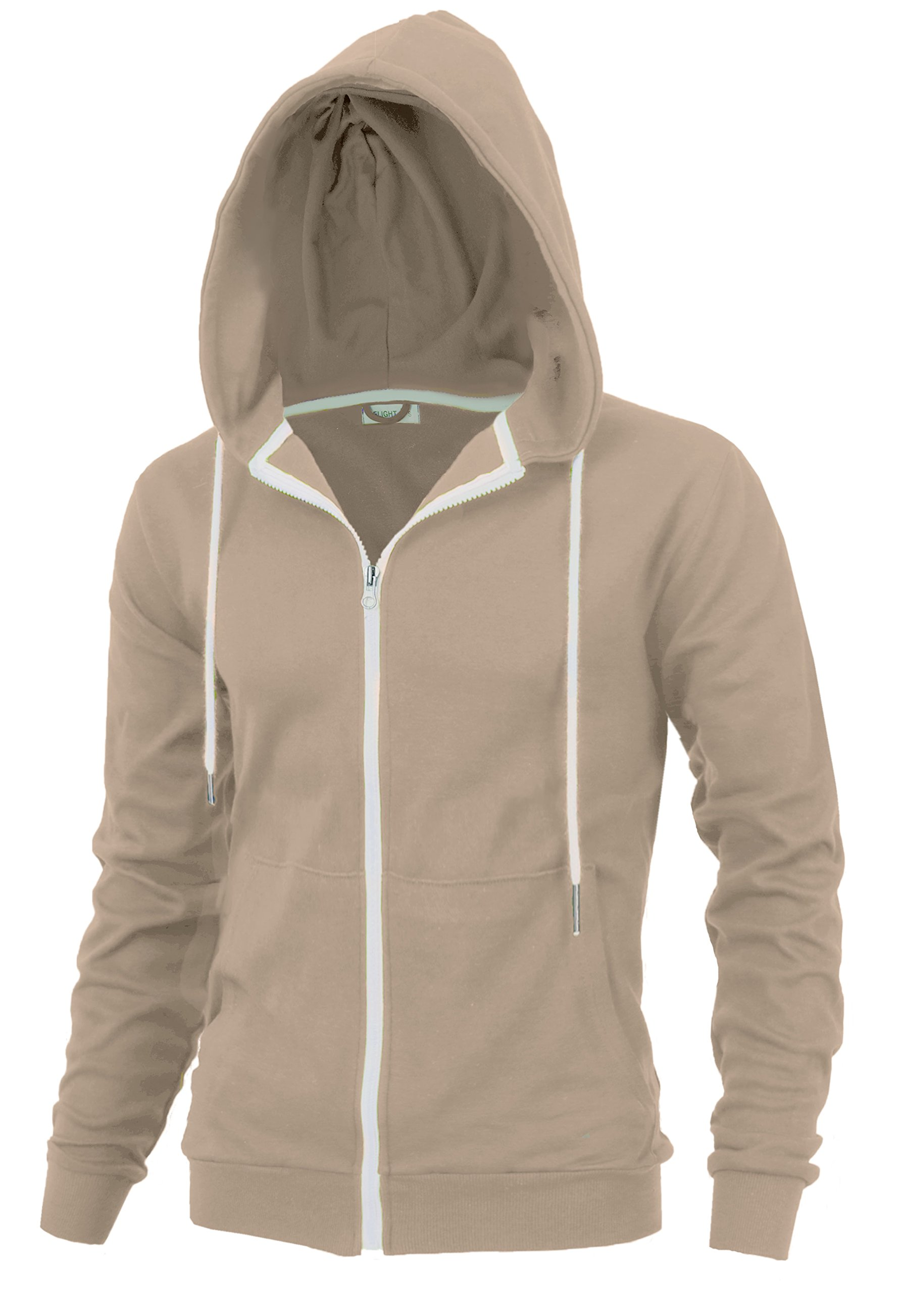 Delight Men's Fashion Fit Full-Zip Hoodie with Inner Cell Phone Pocket (US Large, Beige)