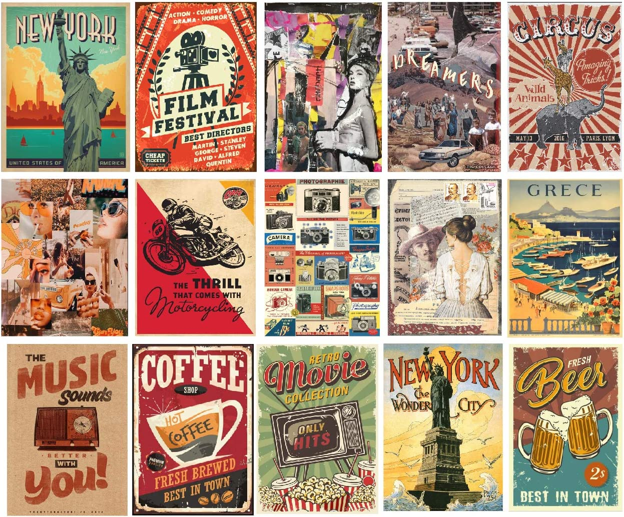 """H2 Studio Retro Stickers, Retro Postcards, Posters, Vintage Stickers, Classic Movie Posters, Easy to Install for Decorating Laptop, 90s Room Decor, Wall Art Decor, Garage, Coffee Shop 3""""x5"""", Pack 16"""