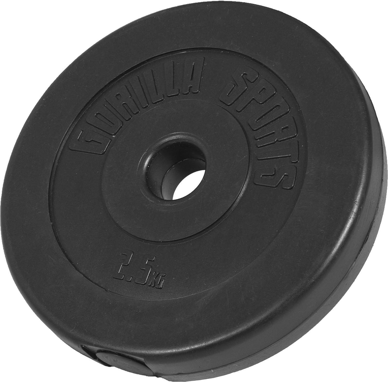 GORILLA SPORTS/® Hantelscheiben Set//Einzeln Kunststoff 1,25-15 kg Gewichte mit 30//31 mm Bohrung