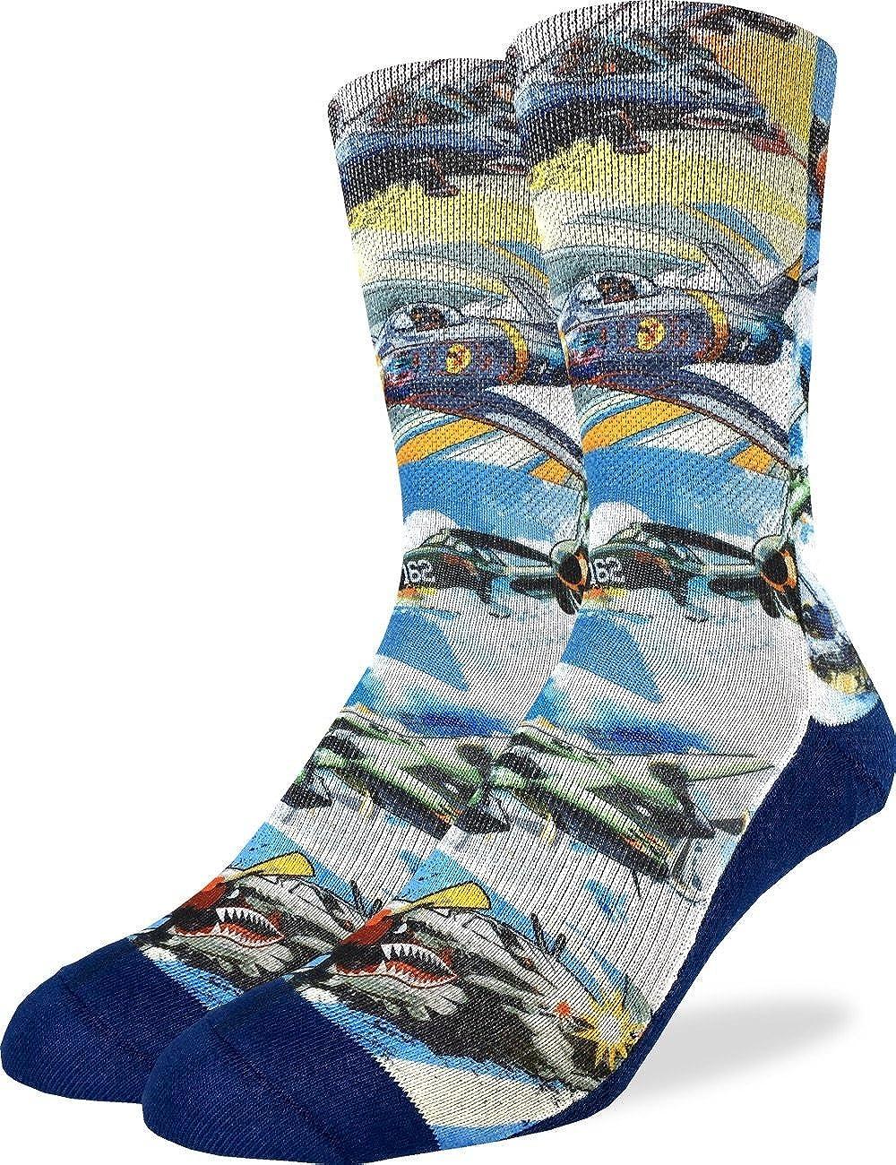 Good Luck Sock Men's Fighter Jet Crew Socks - Blue, Adult Shoe Size 8-13 4100