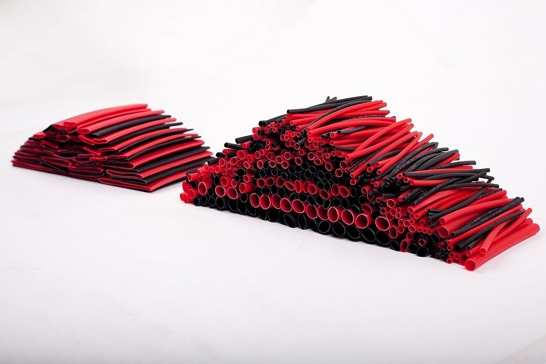 SummitLink 428 Pcs Red Black Assorted Heat Shrink Tube 10 Sizes Tubing Wrap Sleeve Set Combo