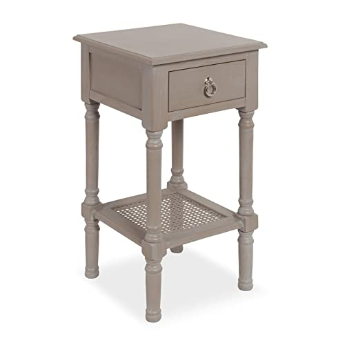 Kate and Laurel Cayne Solid-Wood Casual Side End Table with Drawer and Woven-Cane Lower Shelf, Weathered Wood Gray