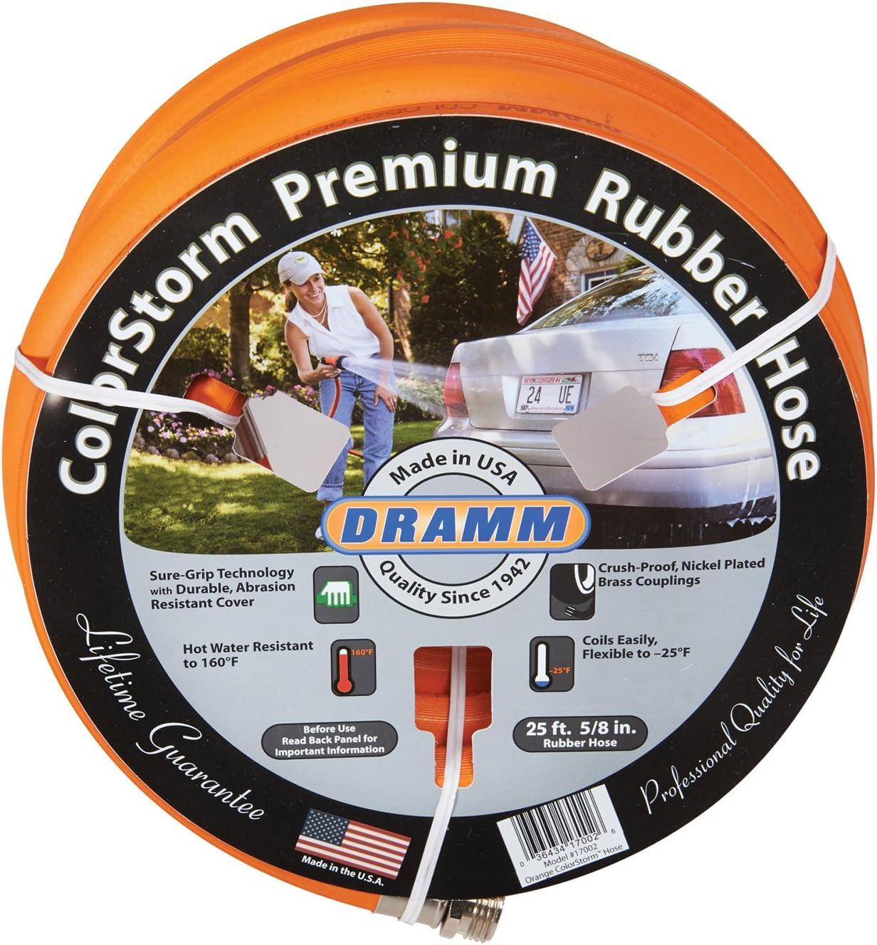 """Dramm 17102 ColorStorm Premium Rubber Hose 5/8"""" x 25' x25', Orange"""