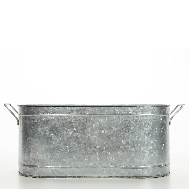 Hosley's 18 Long Galvanized Oval Beverage Party Tub, Chiller. Garden Planter; Serveware. Ideal for Patio, Garden O3 HG Global FBA-G59989ON-1-EA