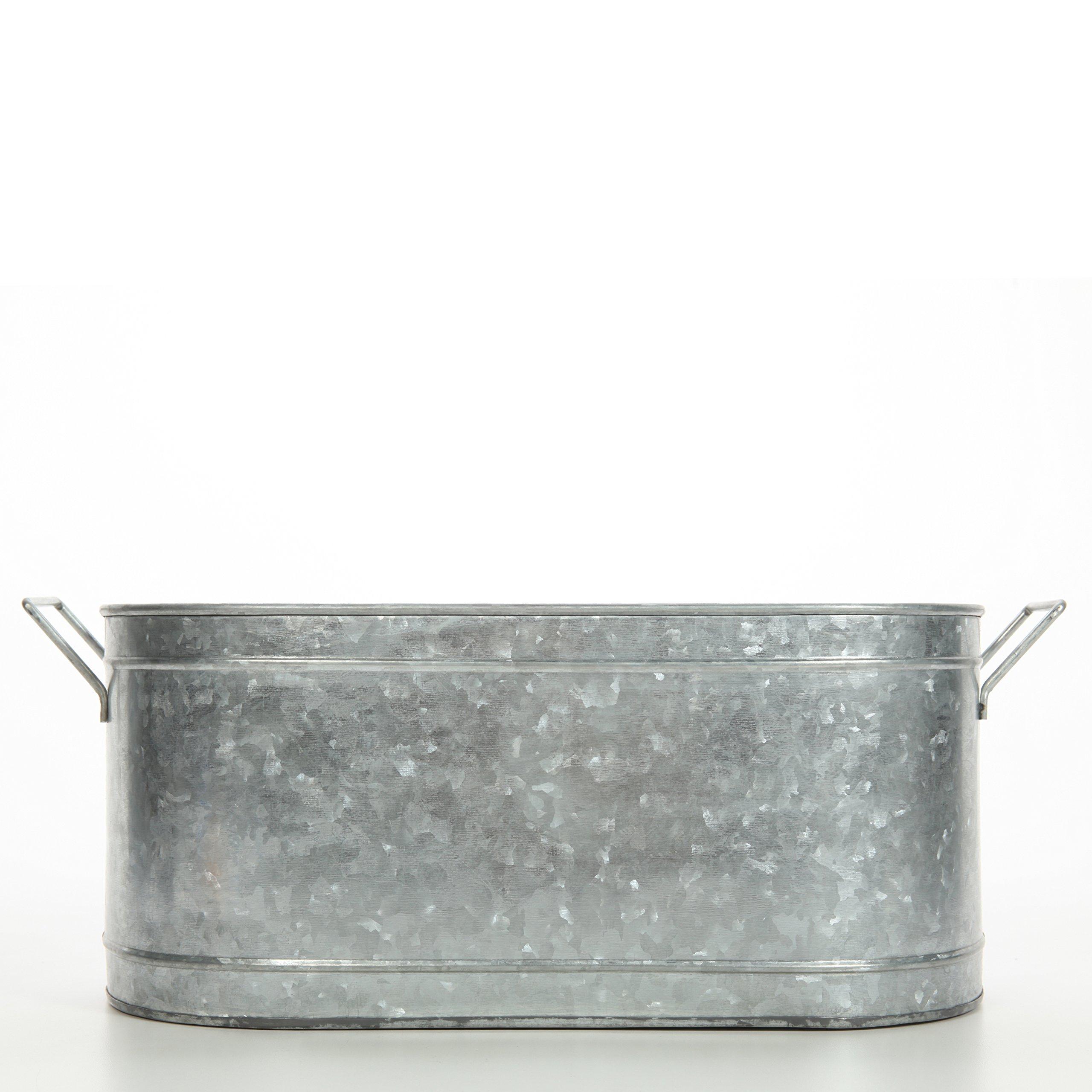 Hosley's 18'' Long Galvanized Oval Beverage Party Tub, Chiller. Garden Planter; Serveware. Ideal for Patio, Garden O3