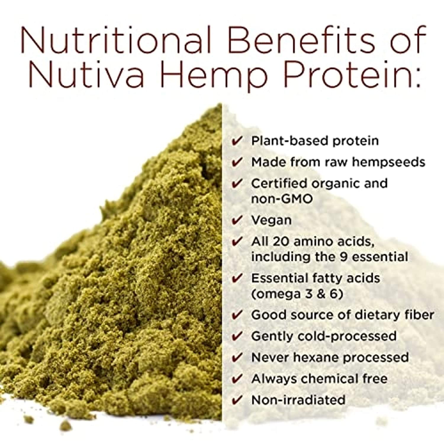 Nutiva Organic Cold-Pressed Hemp Seed Protein Powder, 15G Protein, 16 Ounce: Grocery & Gourmet Food