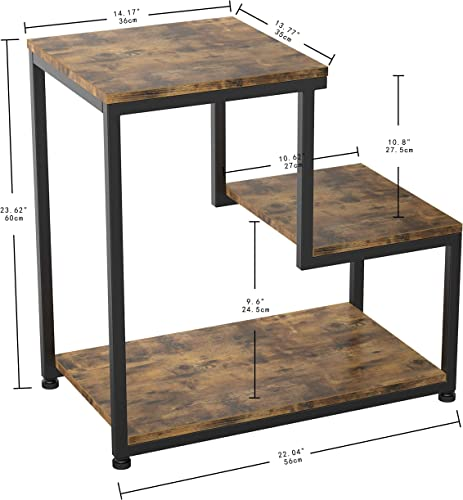 IRONCK Industrial Side Tables Living Room, 3-Tier End Tables Nightstand with Storage, Sturdy, Easy Assembly, Vintage Brown