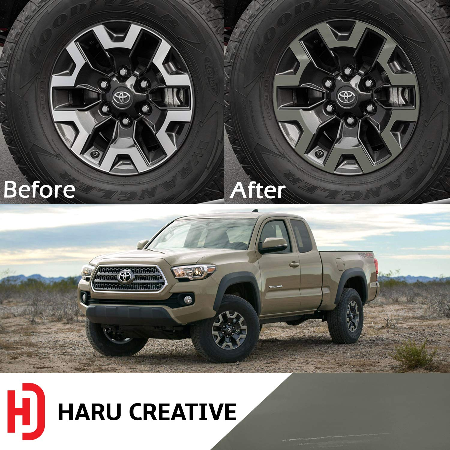 Wheel Rim Overlay Vinyl Decal Sticker Compatible with and Fits Toyota Tacoma TRD Off Road 2016-2018 Haru Creative Gloss Black Loyo