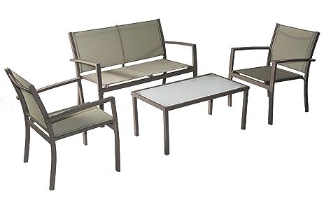 Traxion 4 211 Outdoor Patio Furniture Set, Beige