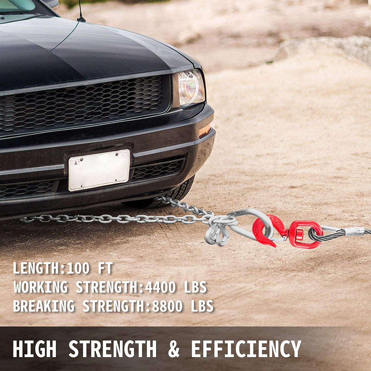 BestEquip Galvanized Steel Winch Cable 3//8 x 100 for Rollback 6x19 Strand Core Towing Cable Heavy Duty Crane Wrecker Tow Truck Wire Rope with Hook 8800 Lbs Breaking Strength
