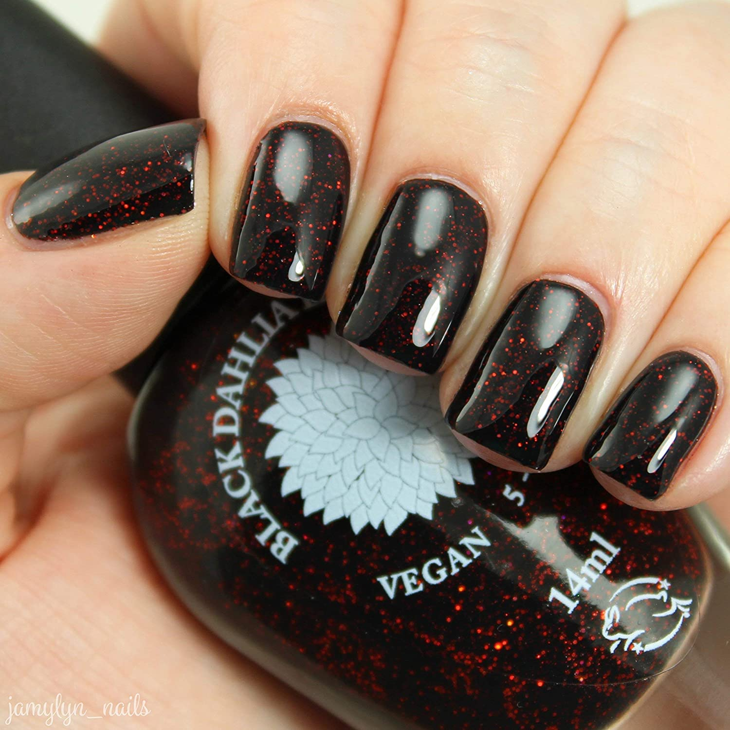 Amazon.com: Black Dahlia | Black Jelly Nail Polish with Red & Black ...