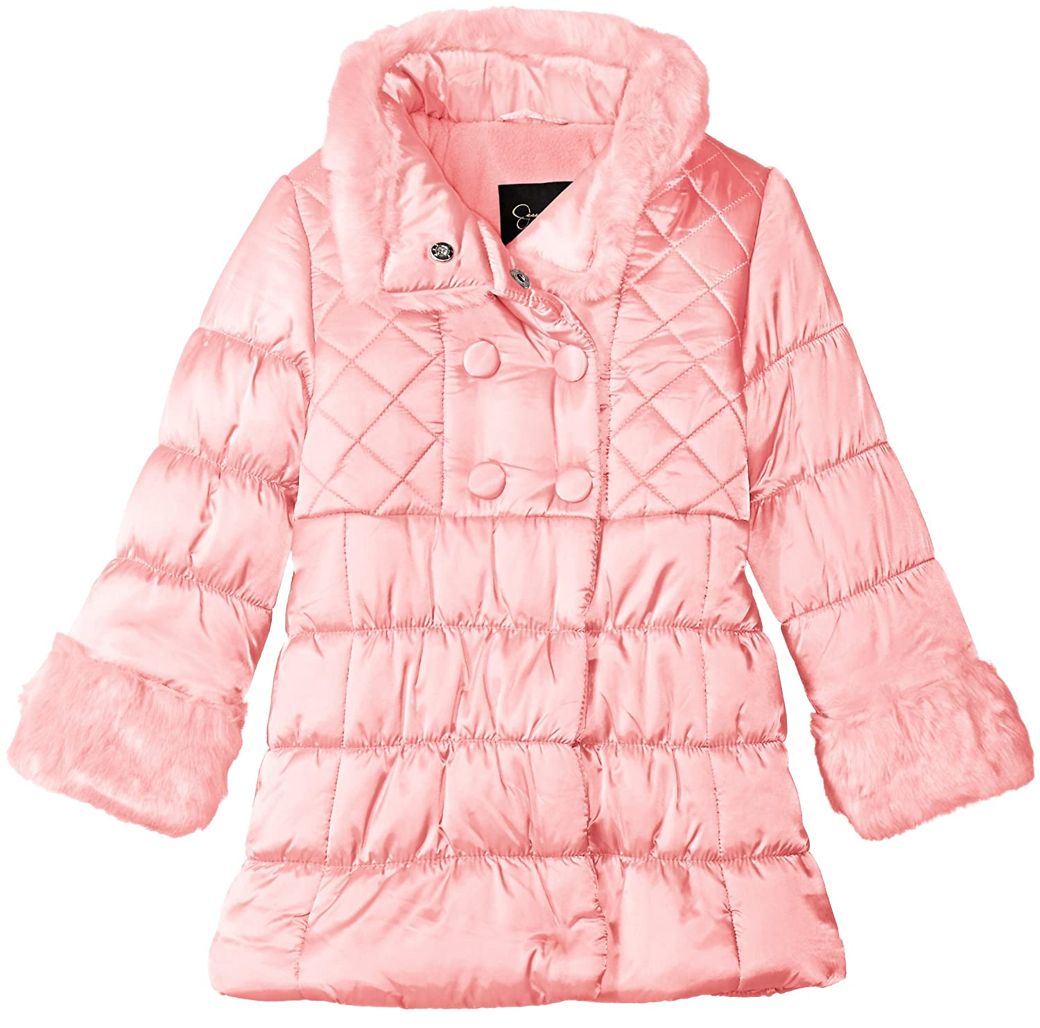 Jessica Simpson Girls' Double Breasted Quilted Puffer Coat 216632