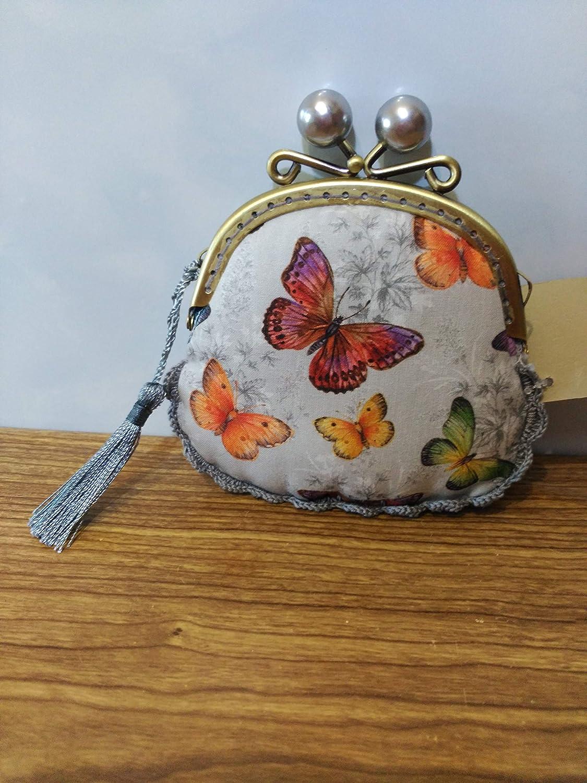 monedero con tela mariposas hecho a mano con remate a ...