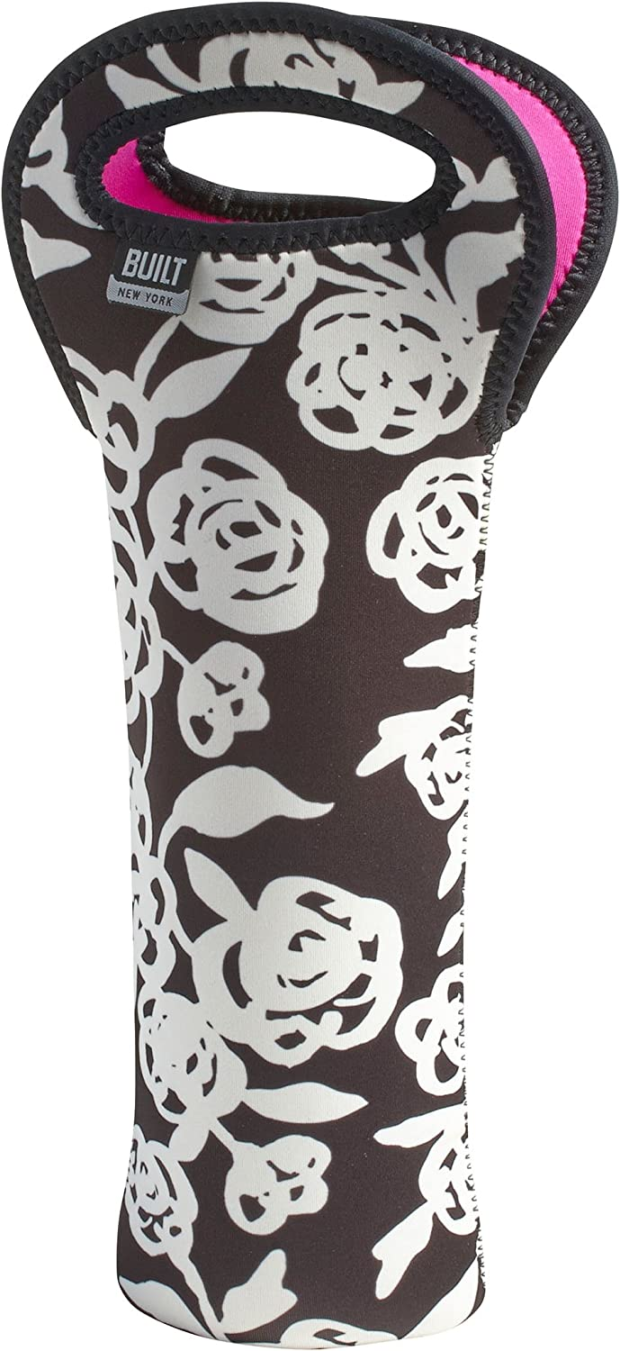 BUILT NY Neoprene Wine//Water Bottle Tote Garden Rose Black /& White