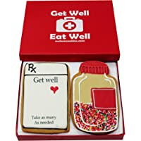 Gourmet Get Well Cookie Gift Basket   2 Large (2.5 x 4.5 Inches) Vanilla Sugar Cookies Hand-Decorated Snack Variety Pack…