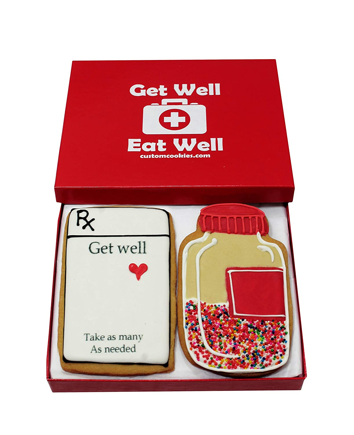 Gourmet Get Well Cookie Gift Basket   2 Large (2.5 x 4.5 Inches) Vanilla Sugar Cookies Hand-Decorated Snack Variety Pack  Kosher Bakery Care Package For Women, Men, Boys & Girls, Kids   Prime Delivery