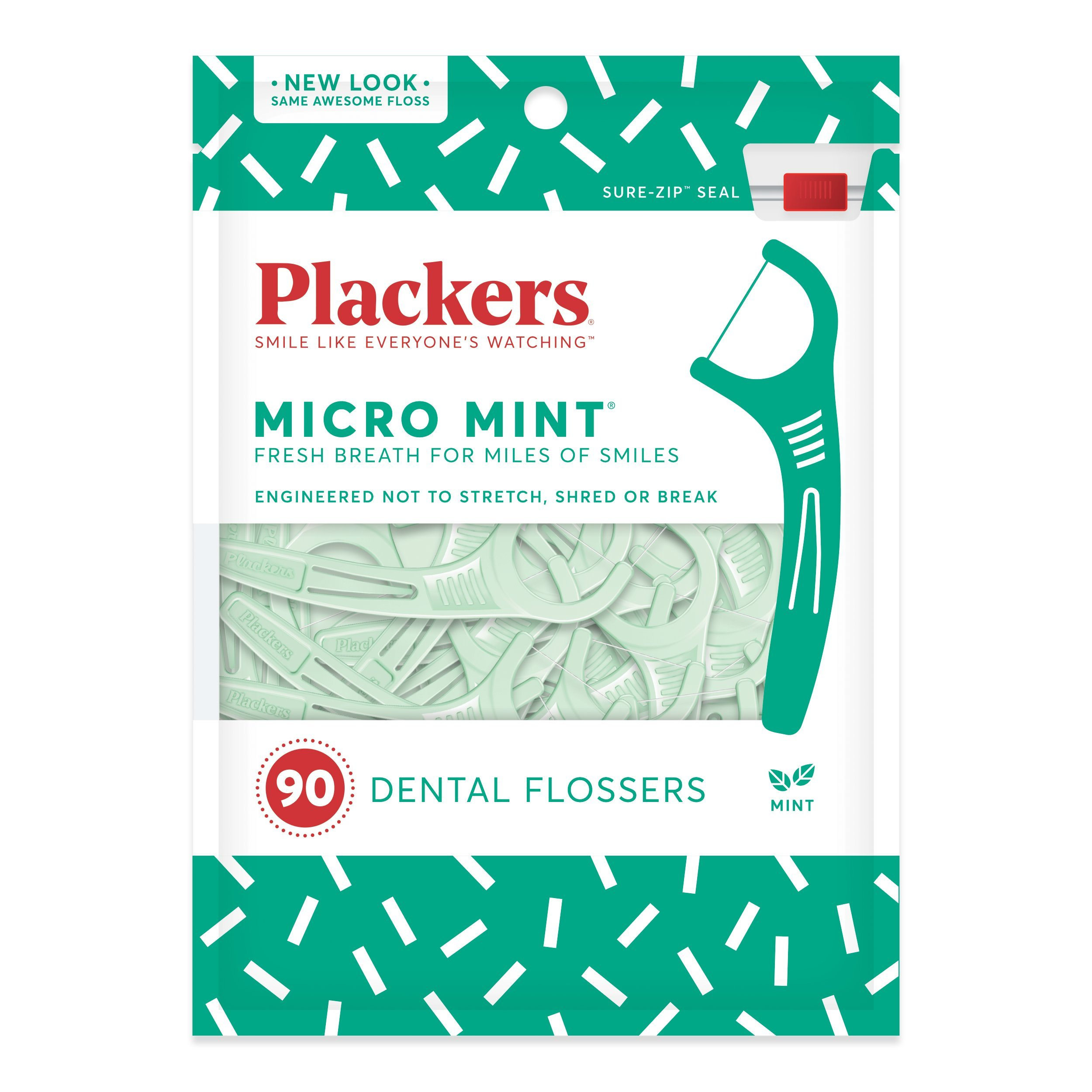 Plackers Micro Mint Dental Floss Picks, 90 Count (Pack of 6)