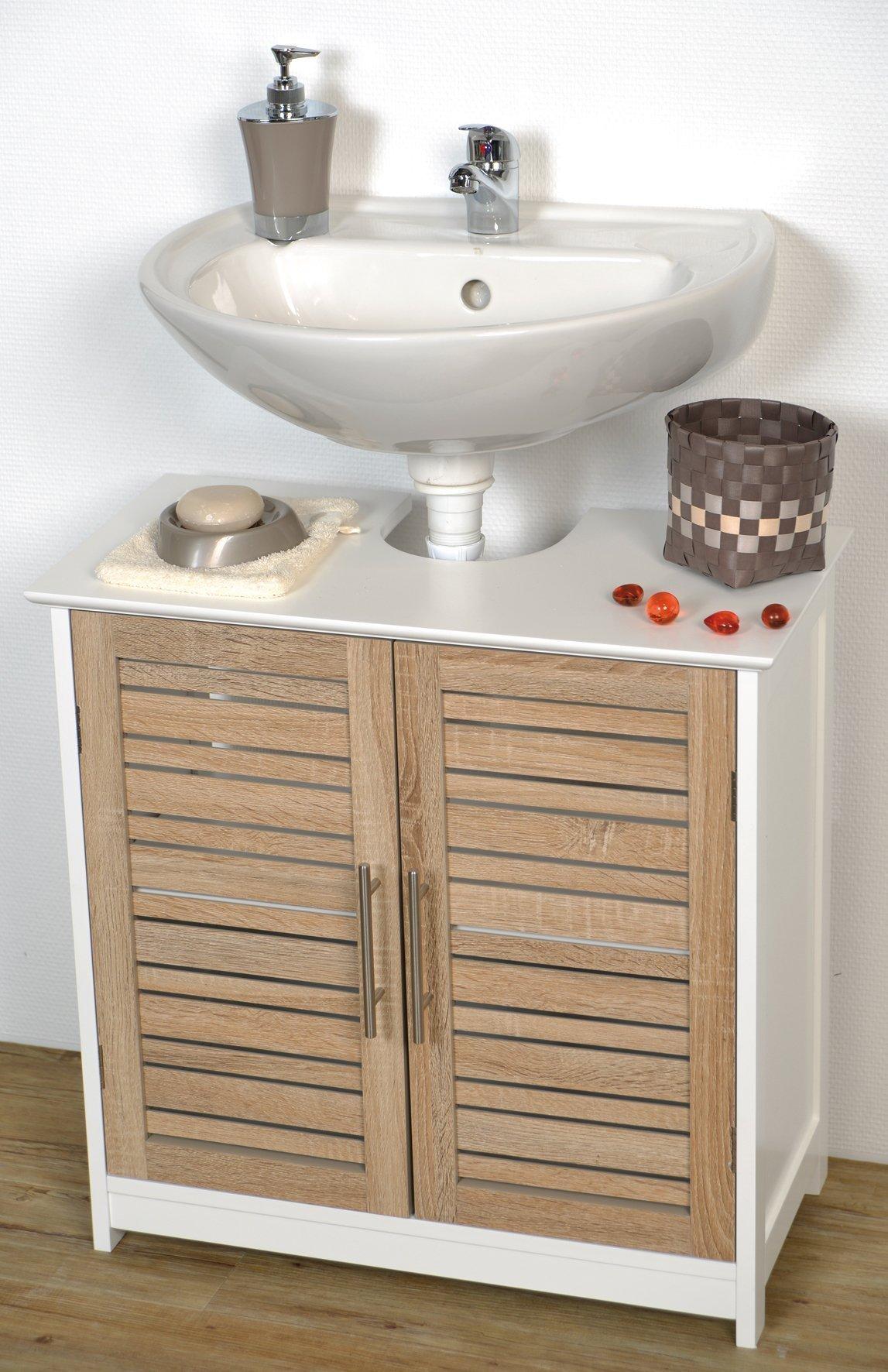 EVIDECO 9900306 Free Standing  Non Pedestal Under Sink Vanity Cabinet, Bath Storage Stockholm