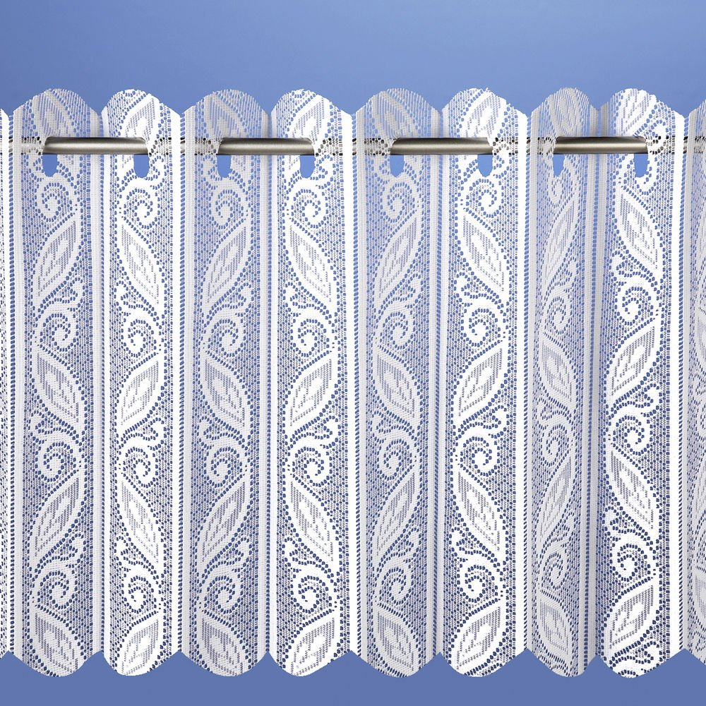 Lace Net Voile Louvre Vertical Pleated Window Blind Panel Curtain White (72 wide x 90 drop (180x230cm)) by home-expression Maple Textiles
