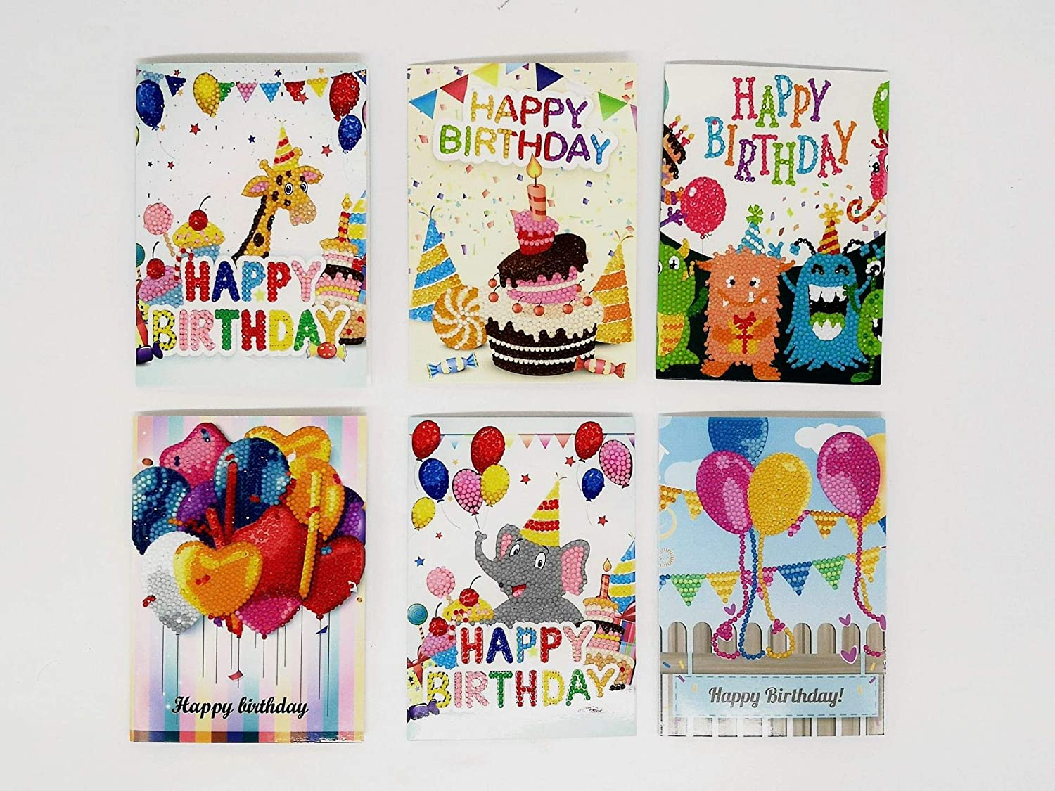 Ready to be written and sent. Diamond art Birthday cards