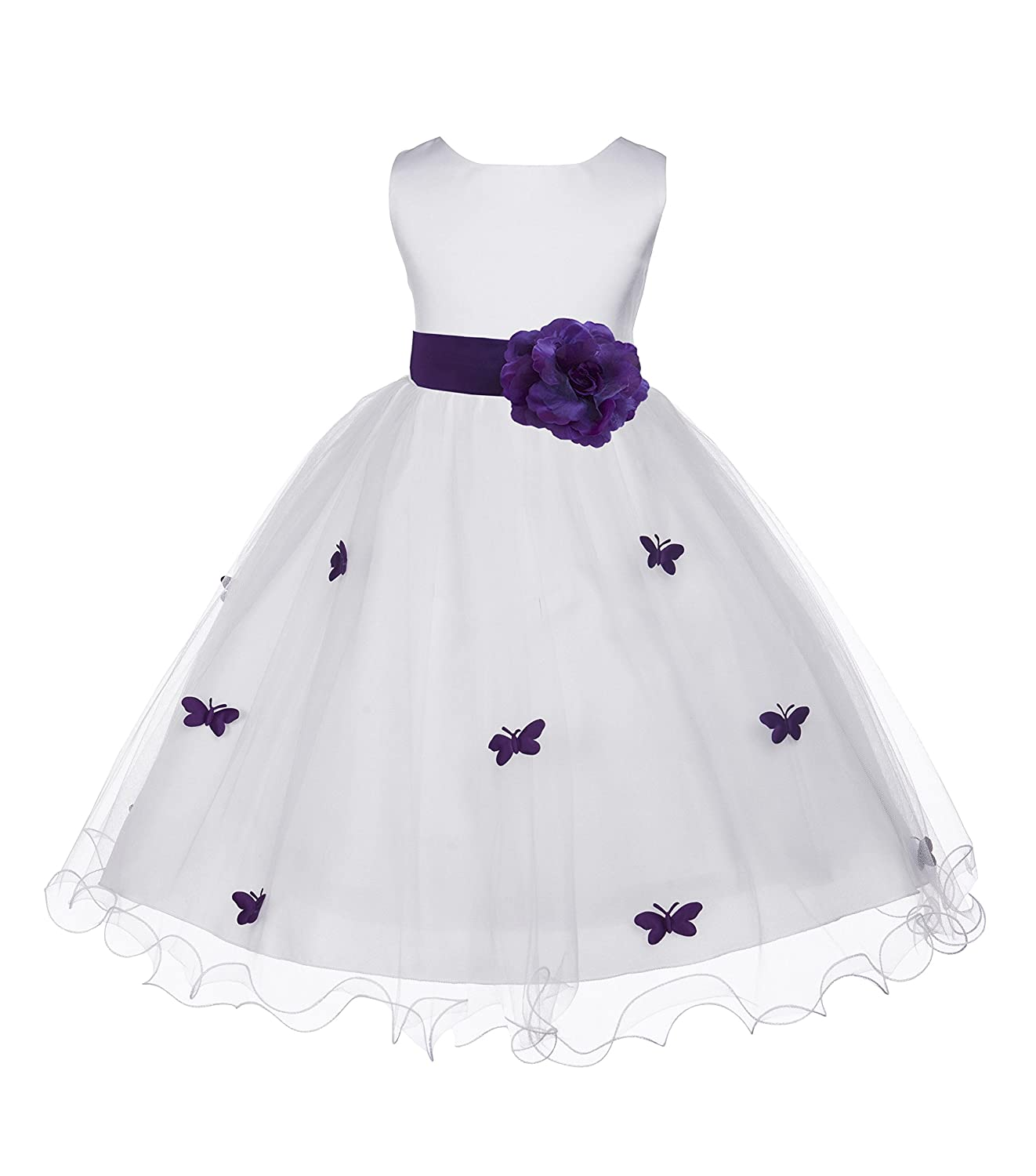 Purple and White Flower Girl Dress