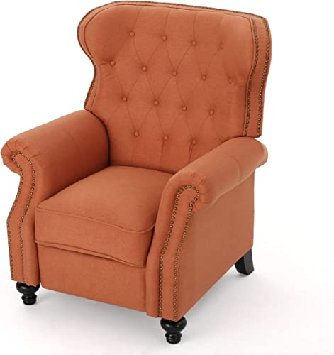 Waldo Tufted Wingback Recliner Chair Orange