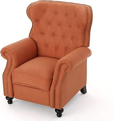 Waldo Tufted Wingback Recliner Chair Orange