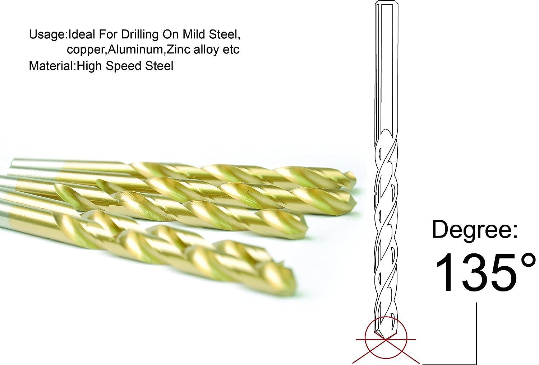 20pcs 13//64 x3-5//8 Round Shank HSS Titanium Coated Twist Drill Bits for Metal