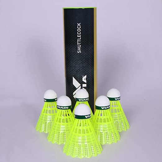 NIVIA Nylon Shuttlecock, Pack of 6  Yellow/Green  Badminton Shuttlecocks