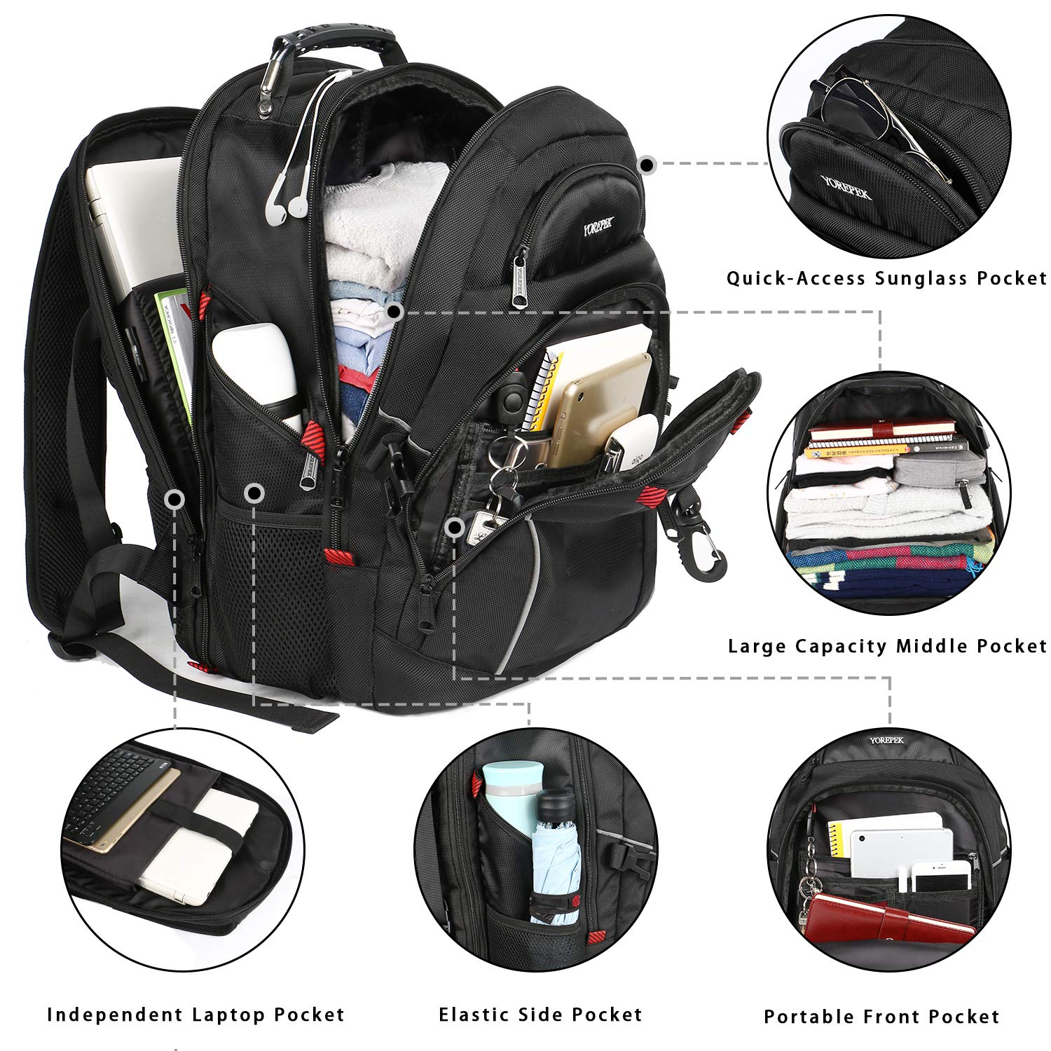 Travel Backpack for Men,TSA Laptop Backpacks with USB Charging Port,Extra Large Backpack with Luggage Sleeve, Water Resistant College School Bookbag Computer Bag Fits 17 inch Laptops,Black by YOREPEK (Image #3)