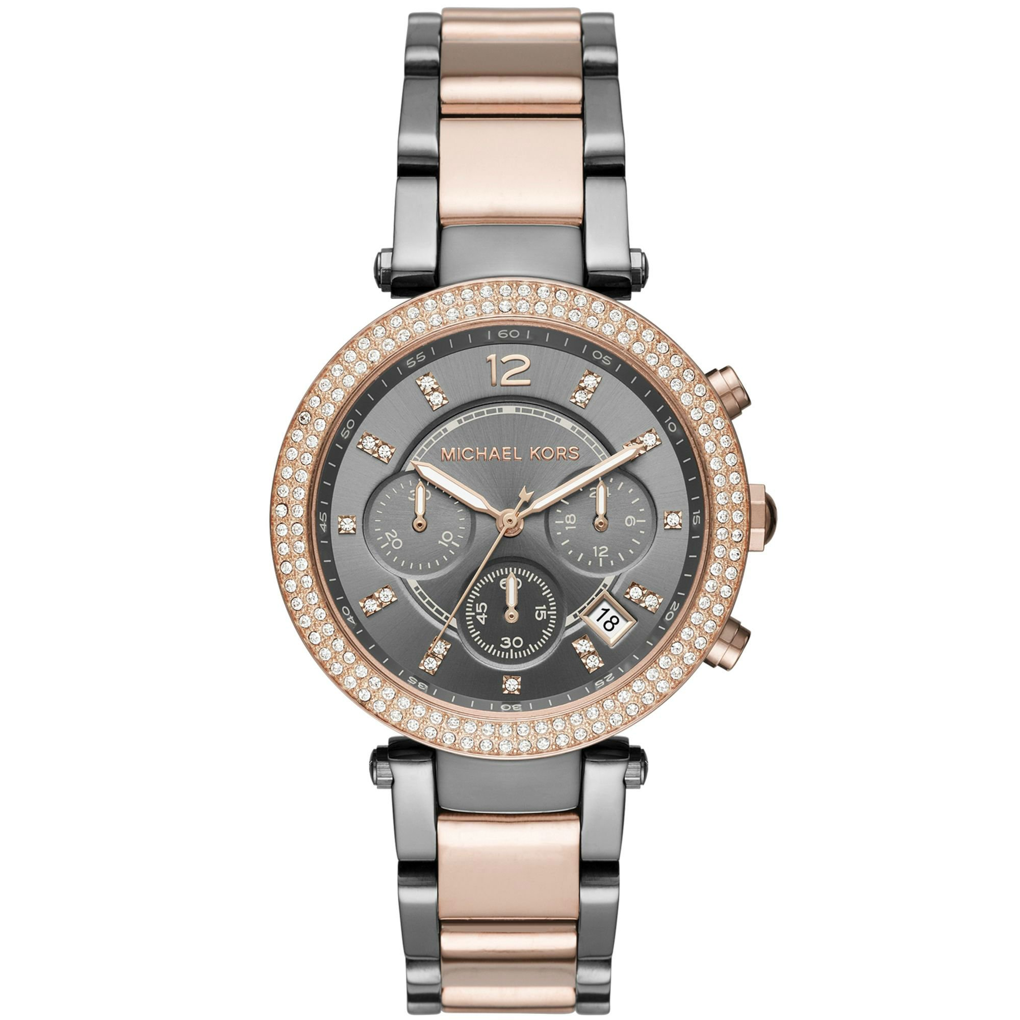 Michael Kors MK6440 Women's Parker Two-Tone Rose Gold Gunmetal Chronograph Watch by Michael Kors