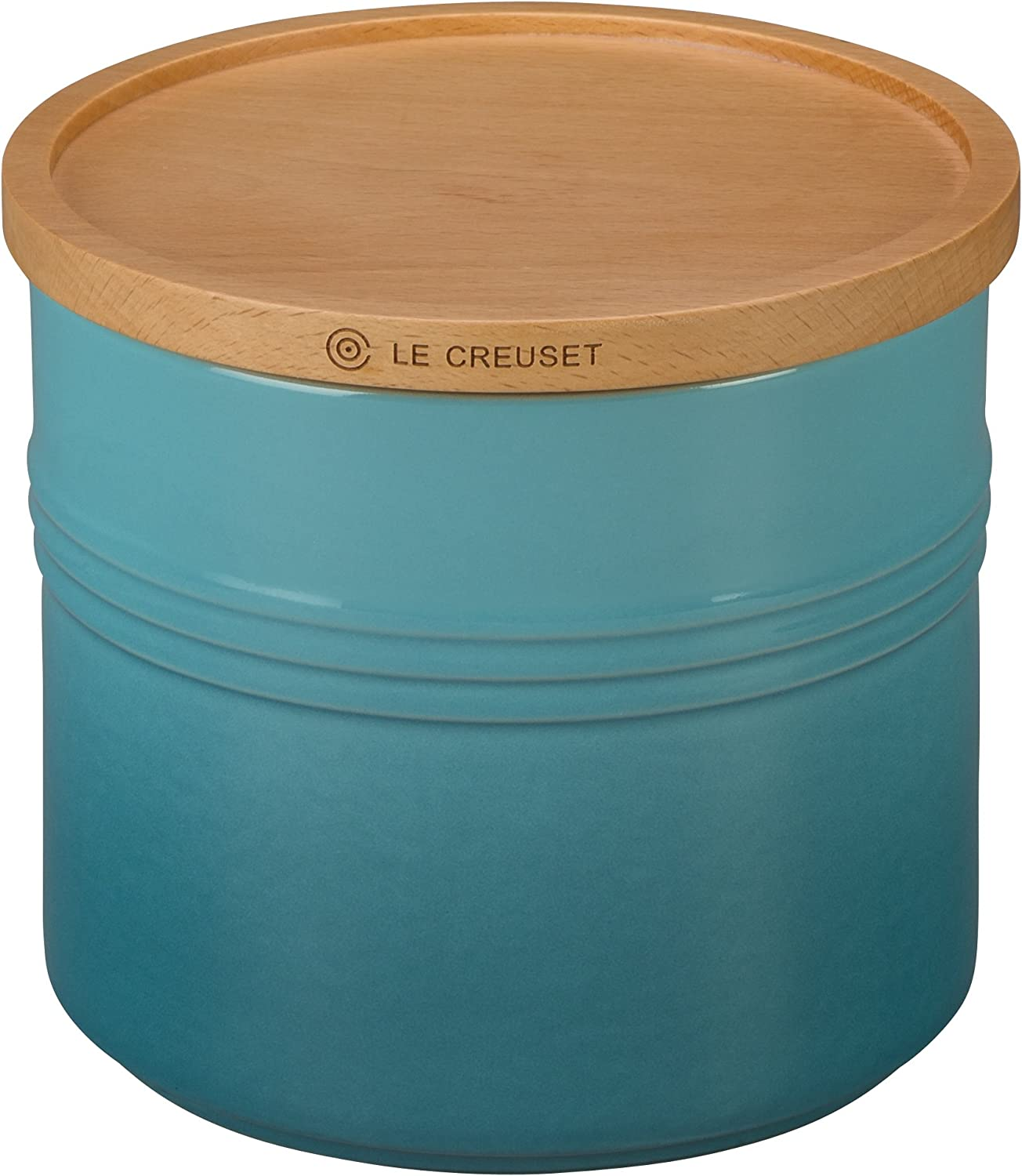 "Le Creuset Stoneware Canister with Wood Lid, 1.5 qt. (5.5"" diameter), Caribbean: Kitchen & Dining"