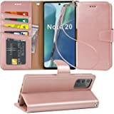 Arae Wallet Case for Samsung Galaxy Note 20 with Wrist Strap and Credit Card Holders - Rose Gold