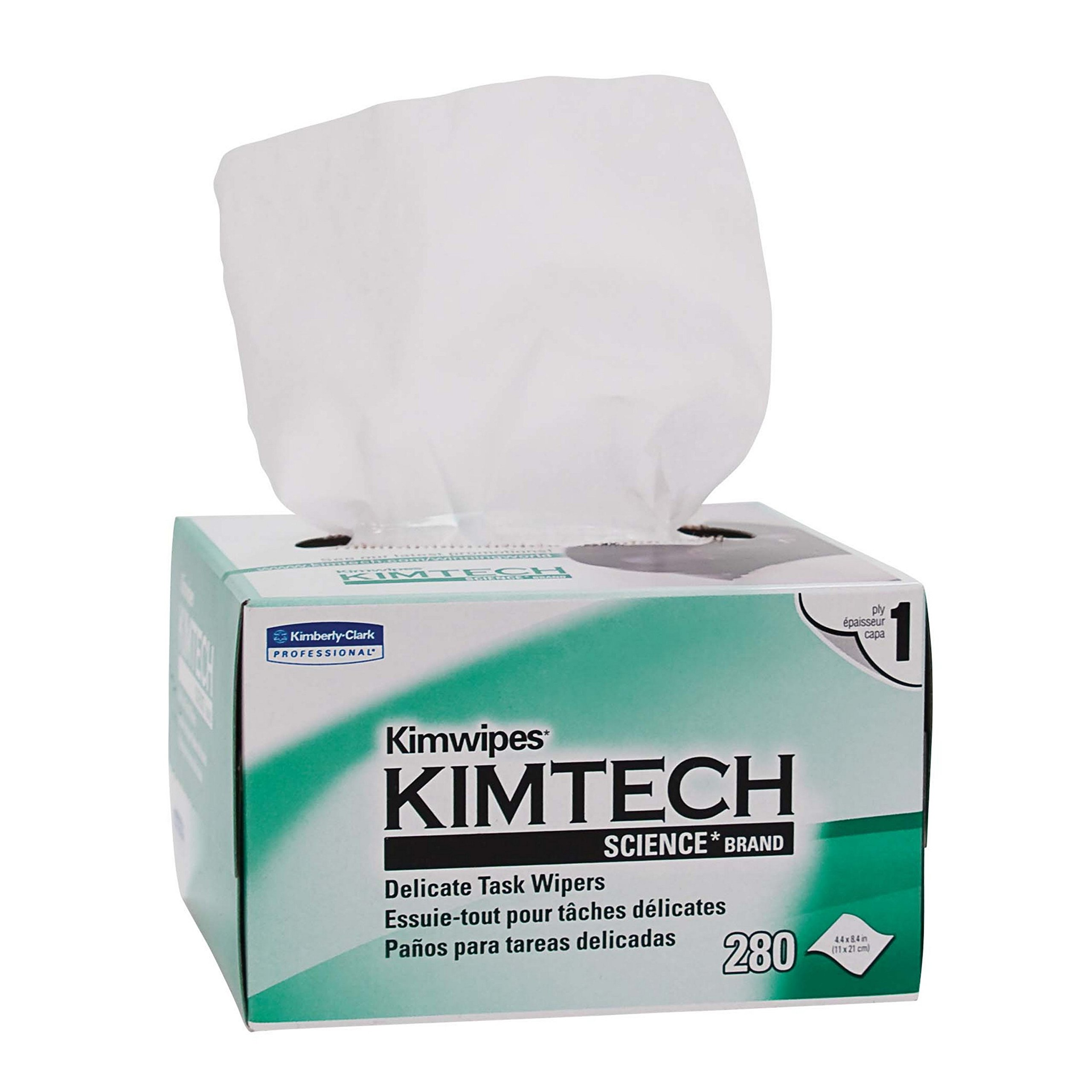 Kimberly-Clark Kimtech Science Kimwipes Delicate Task Disposable Wiper, 8-25/64'' Length x 4-25/64'' Width, White (Pack of 3)