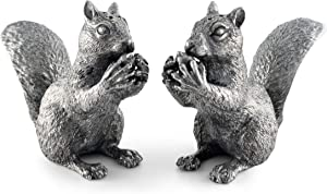 Vagabond House Salt and Pepper Solid Pewter Metal Squirrel holding Acorn Nut Handcraft Woodland Decor 4 Inches Tall