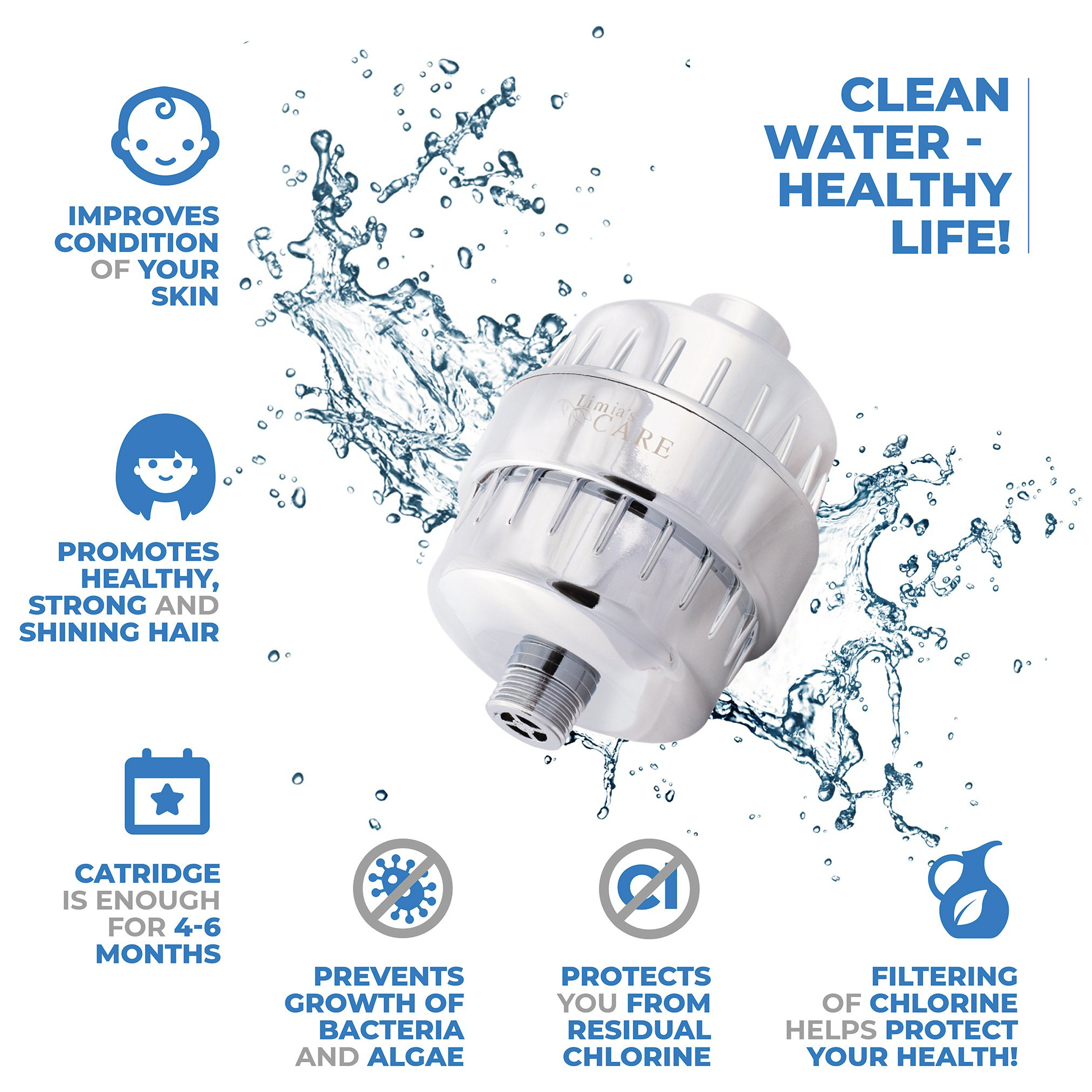10-Stage Replacement Filter Cartridge for Universal Shower Filter LC-SF3WF - Shower Head Filter - Chlorine Filter - Hard Water Filter - Water Softener - Showerhead Filter