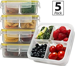 Komax Biokips Snack Containers For Kids and Adults   Lunch Box Containers With 4 Removable Compartments [23-oz]   Meal Prep Snack Containers   BPA-Free, Dishwasher & Microwave Safe