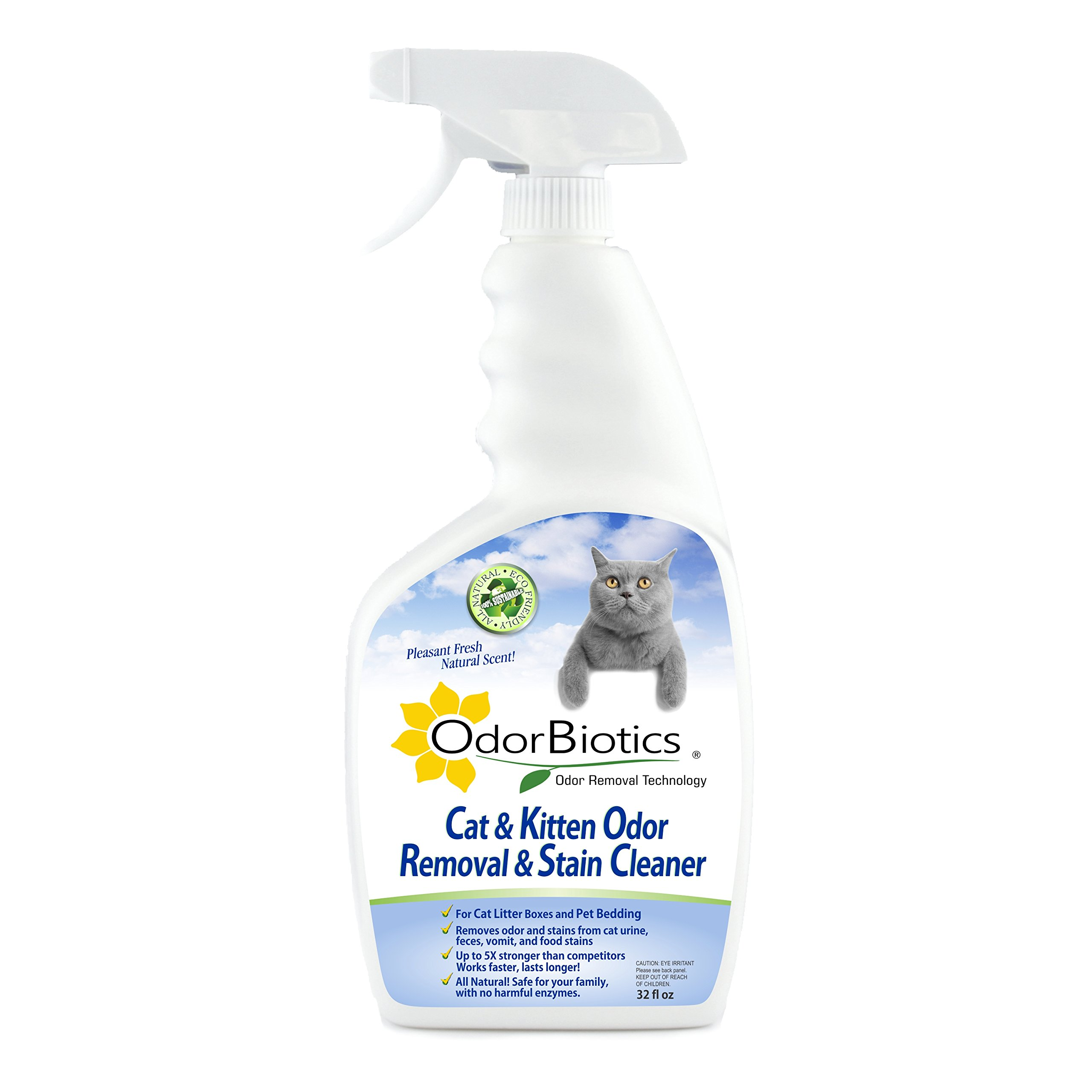OdorBiotics Pet Stain-Odor Eliminator for Cat Litter Boxes, Small Animal Cages for Chinchilla, Ferret, Guinea Pig Bedding, Hamster and Bunny Rabbit Houses, Carpet Fabric Stains, 32 oz Spray Bottle by OdorBiotics (Image #1)
