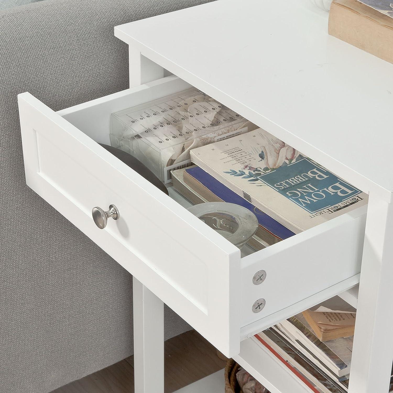 SoBuy FBT46-W,ES Mesa Auxiliar con 1 cajón, Consola,mesita de Noche para salón Comedor, teléfono o lampara (Blanco) (1): Amazon.es: Hogar