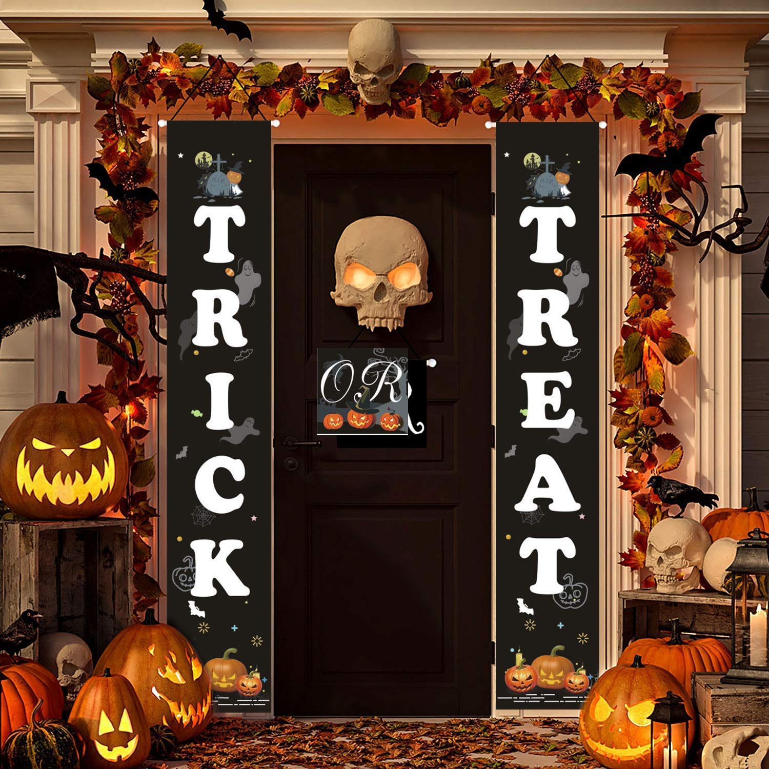 Emopeak Halloween Porch Decorations Outdoor - Trick or Treat & It's October Witches Halloween Signs for Front Door or Indoor Home Decor - Porch Decorations - Halloween Welcome Signs